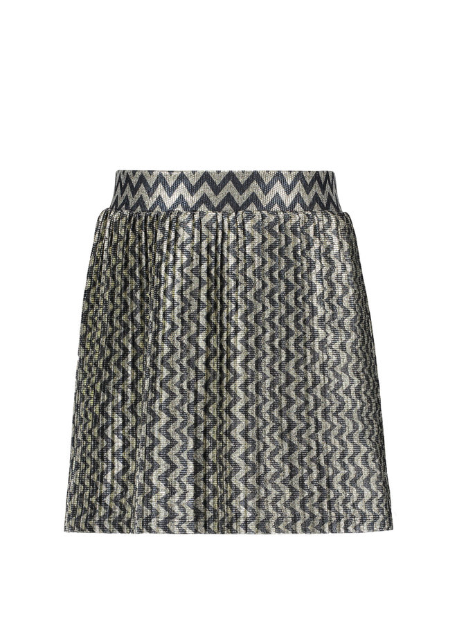 Zigzag Plisse Skirt - Metallic