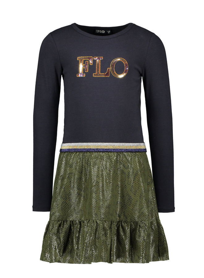 Jersey Longsleeve Dress Suede Snake Skirt - Navy