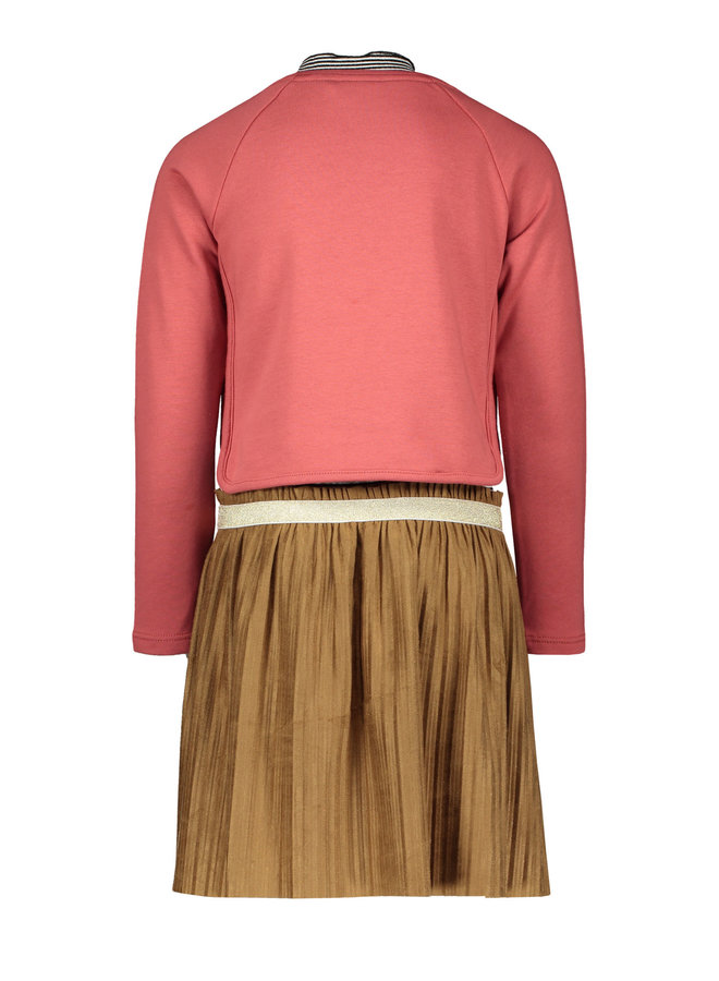 2-Piece Dress Suede Plisse Skirt And Pink Sweater - Blush