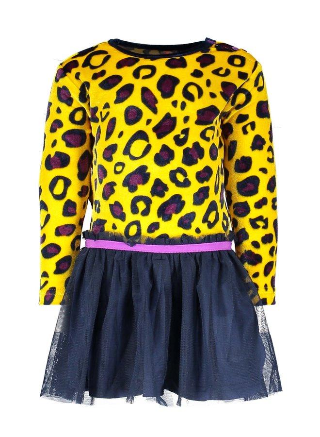 Dress Panther AOP Velvet Top Solid Skirt - AOP Panther