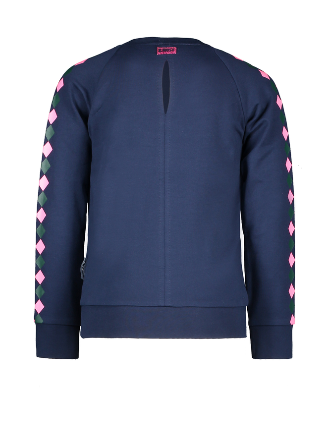 Pullover With Printed V-Shaped Stripes - Space Blue