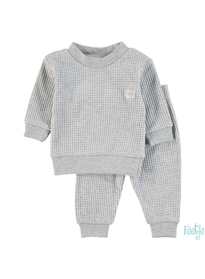 Feetje-Baby Pyjama Wafel - Grijs Melange