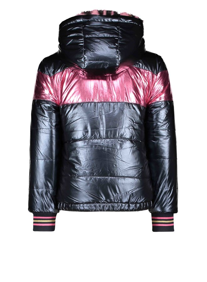 Reversible Jacket Pink Panther Fur And Metallic Shell - Ink Blue