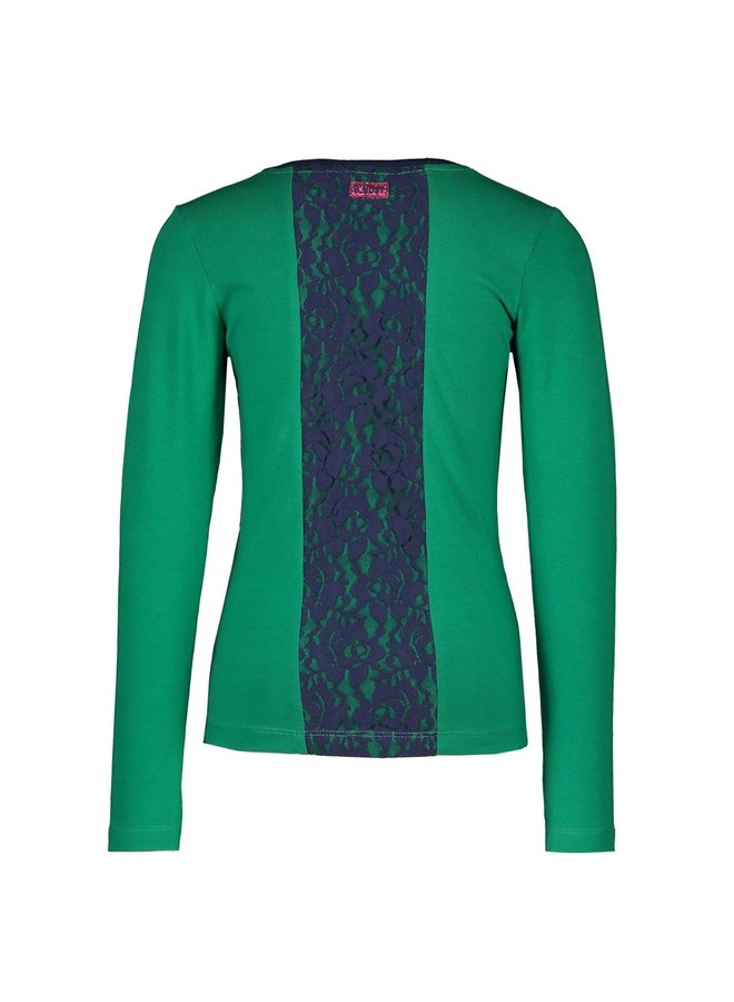 Shirt Lace Detail At The Backside And Embro On Chest - Jade Green