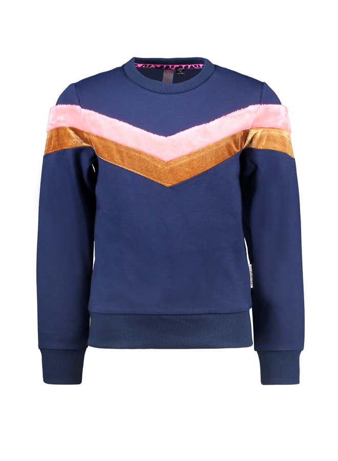 Sweater V-Shaped Stripes - Space Blue