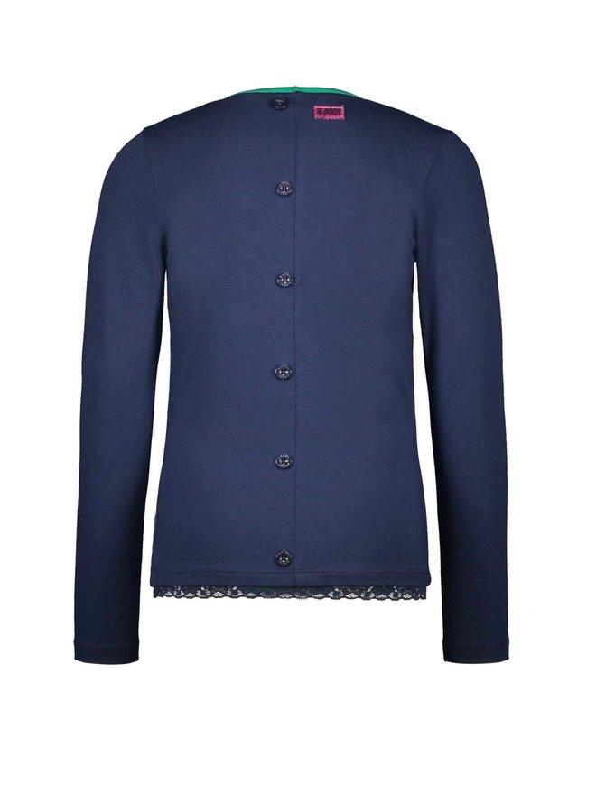Shirt Lace Hem Button Detail At Backside - Space Blue