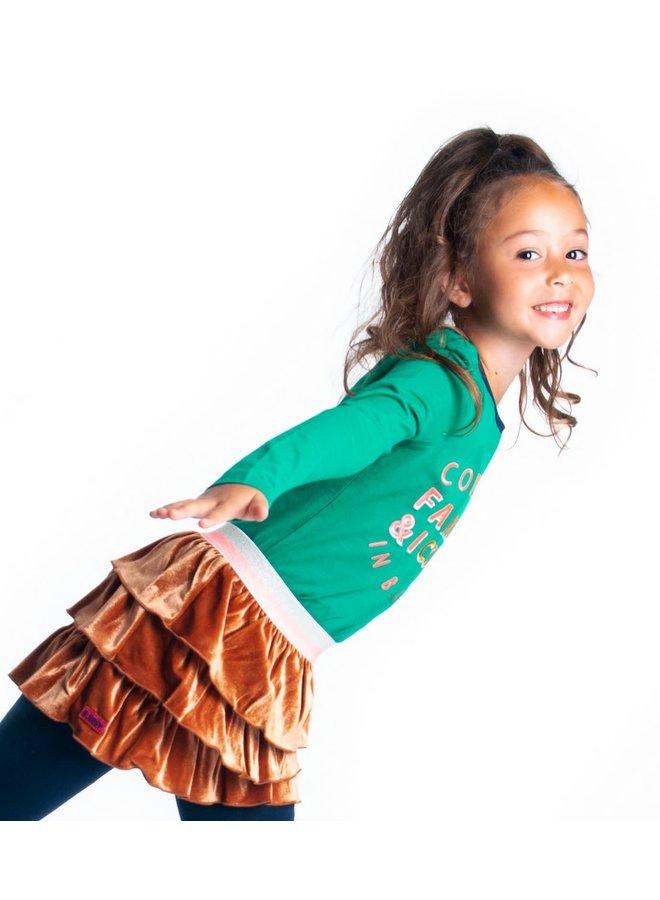 Glitter Velvet Skirt With Layers - Camel