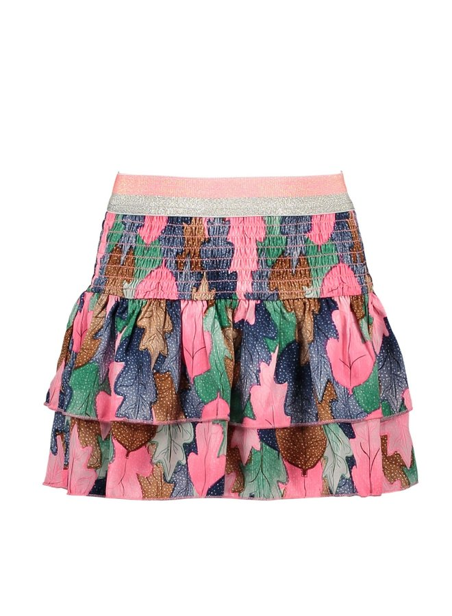 Skirt AOP Woven Smocked And Layers - Leaf Cover