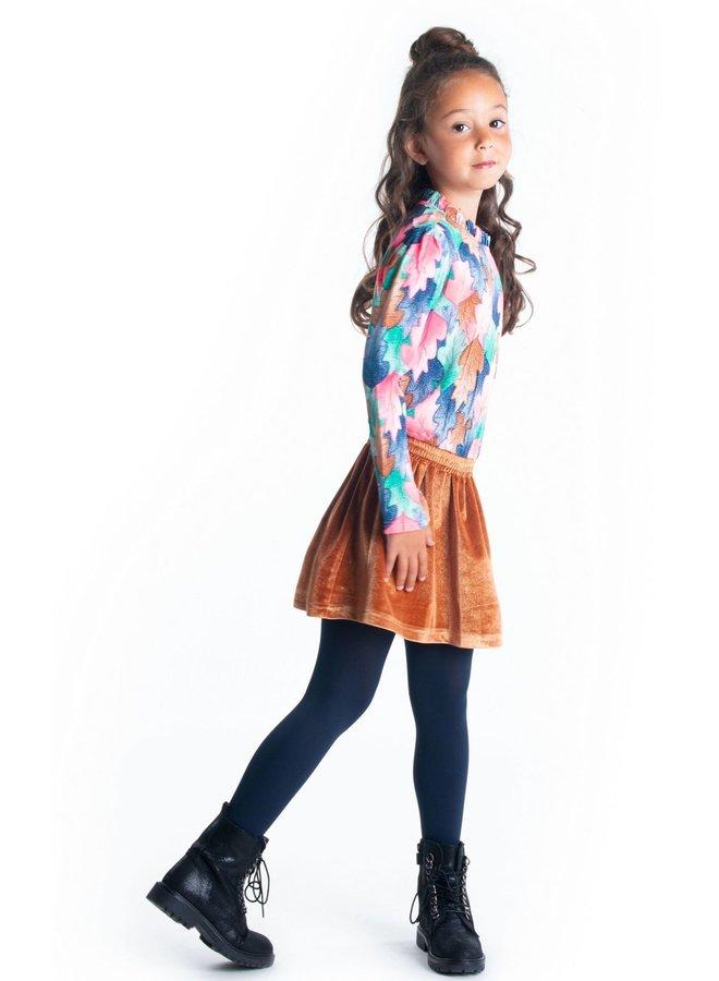 Dress AOP Woven Top Glitter Velvet Skirt - Leaf Cover