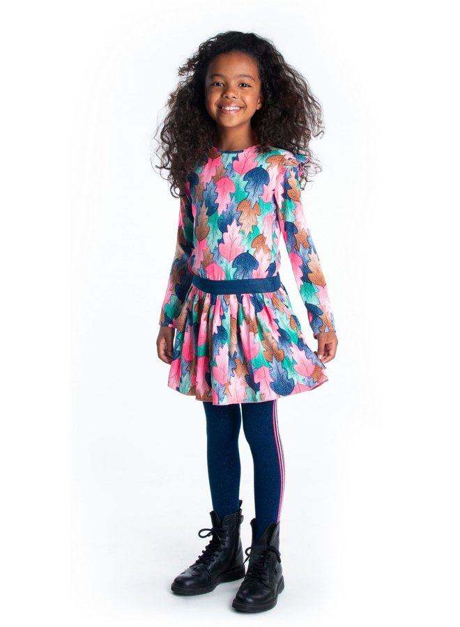 Dress AOP Woven Layer Skirt Ruffle Around Armhole - Leaf Cover