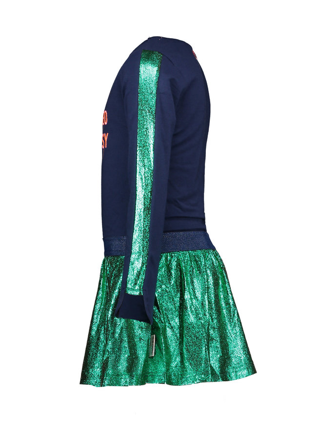 Dress Fancy Pu Leather Skirt And Chest Artwork - Space Blue