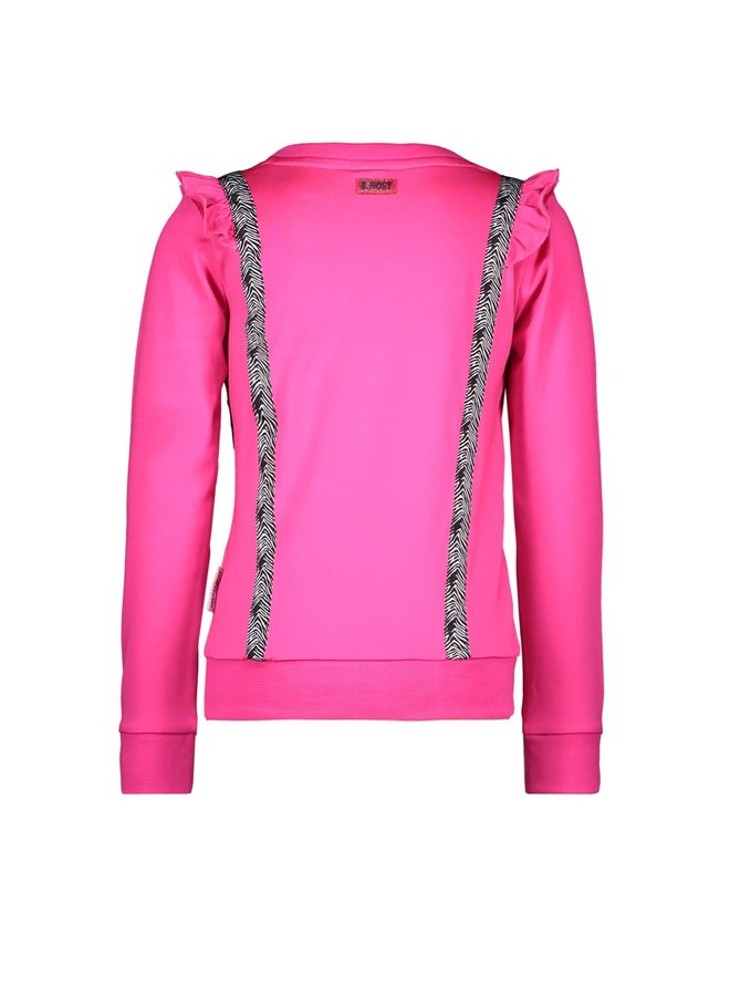 Sweater Vertical Ruffles And Contrast Zebra Tape - Pink Glo