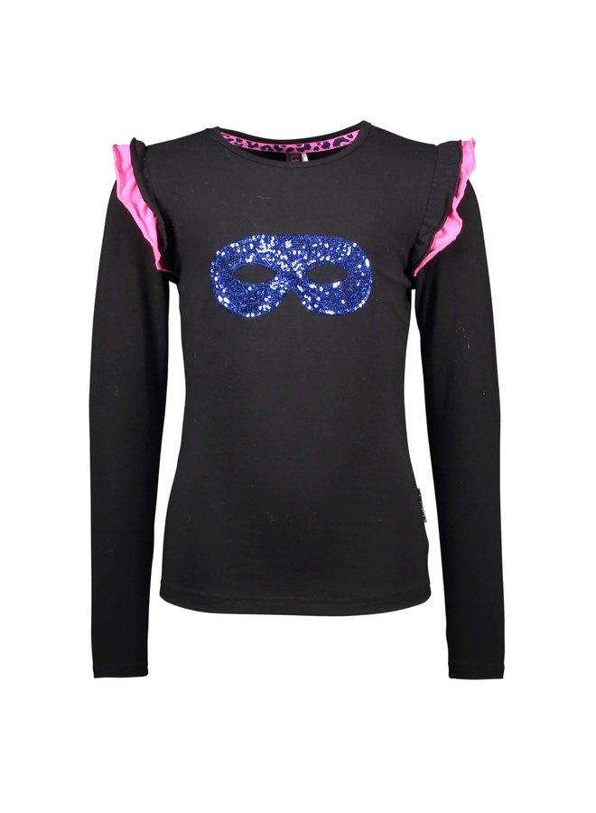 Shirt 2-Color Ruffle Around Armhole - Black