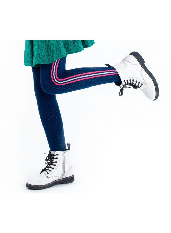 Thights Lurex And Stripes - Space Blue