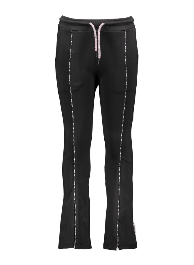 Flaired Pants With Piping On The Front - Black