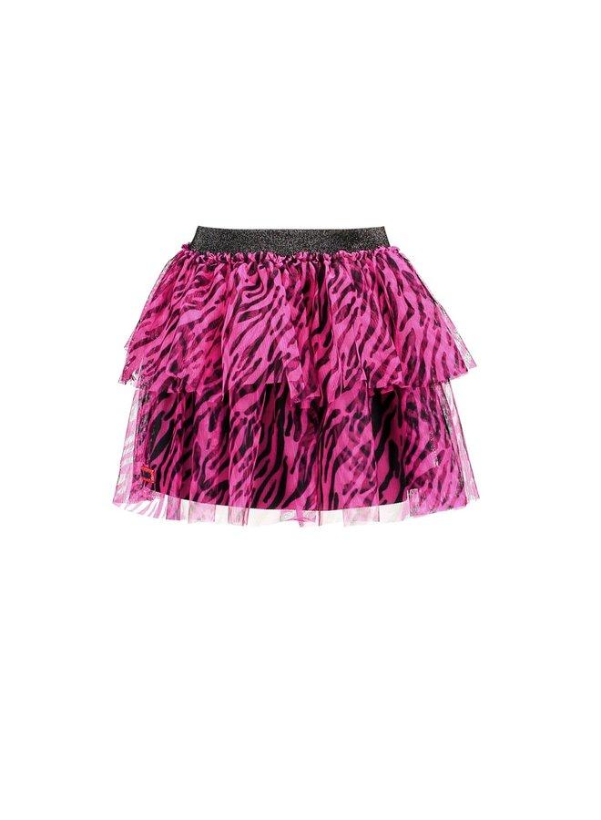 Skirt With Zebra Flock AOP - Pink Glo Zebra