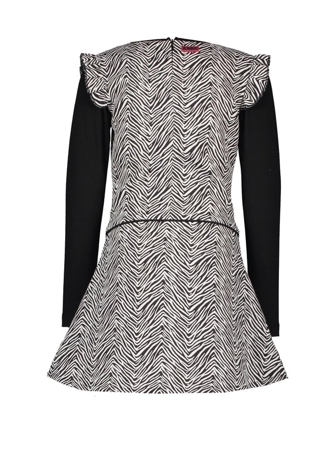 Woven Zebra Dress Ruffle Around Armhole - Dazzle Zebra