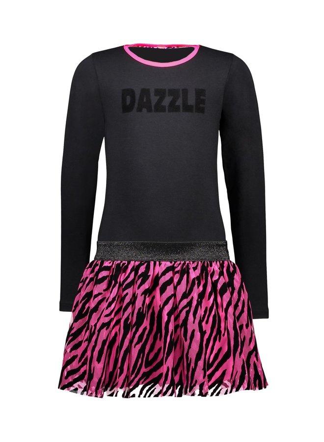 Dress 2-Layer Mesh Skirt Zebra Flock AOP - Black