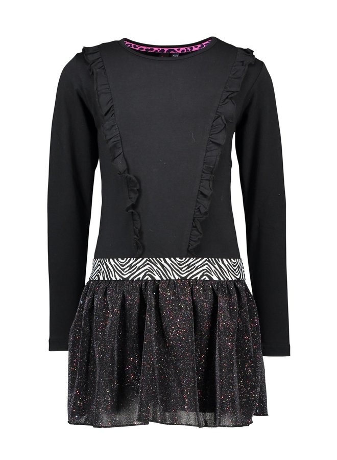Dress With Flock AOP Top And Sequince Skirt - Black zebra