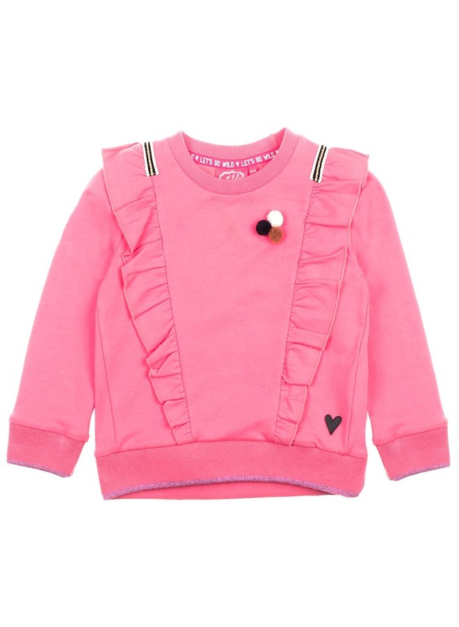 Sweater Ruches Roze - Animal Attitude