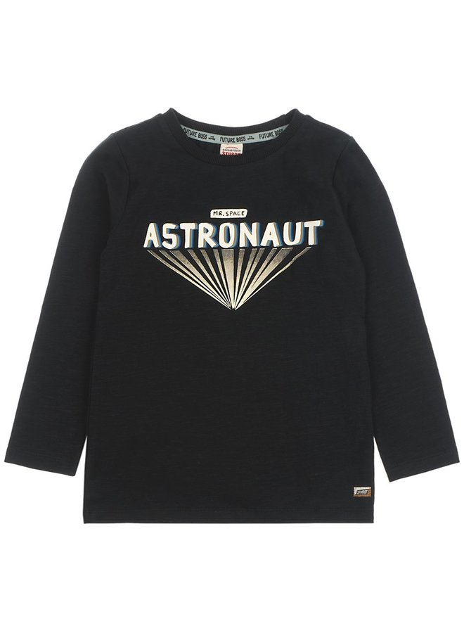 Longsleeve Astronaut Zwart Melange - Spacelab