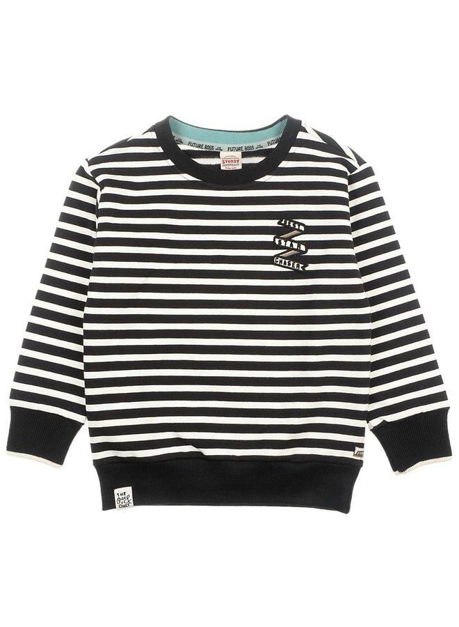 Sweater Streep Zwart - Spacelab