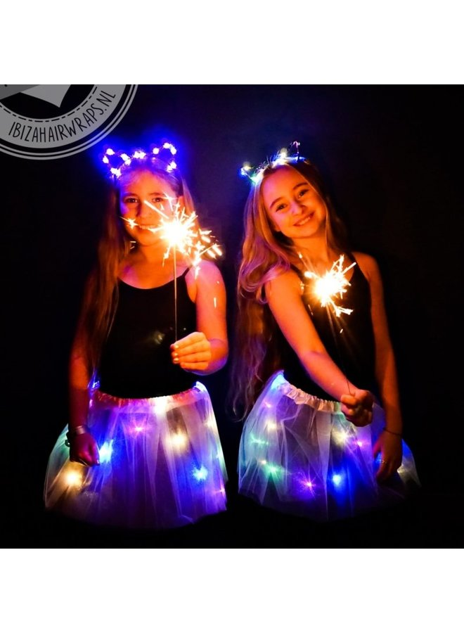 Tutu met LED Lichtjes en LED Bloemen Hoofdband - Pink/Multicolor