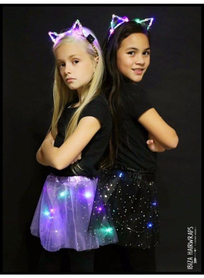 Tutu met LED Lichtjes en LED Cats Diadeem - Black/Multicolor