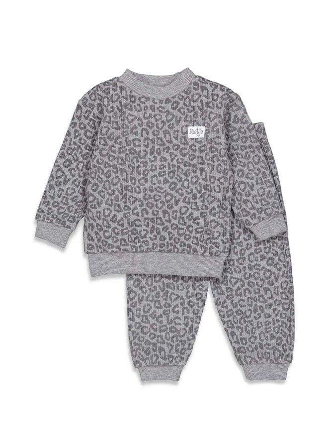 Feetje-Pyjama Wafel - Panter Antraciet Fashion Edition