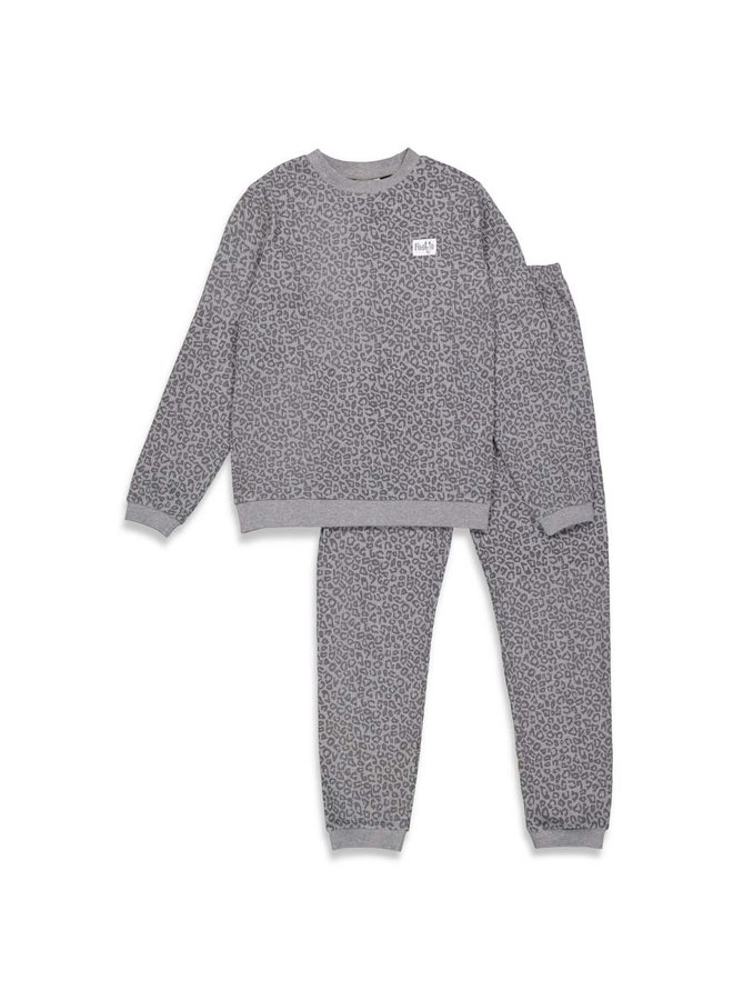 Feetje-Volwassen Pyjama Wafel - Panter Antraciet Fashion Edition