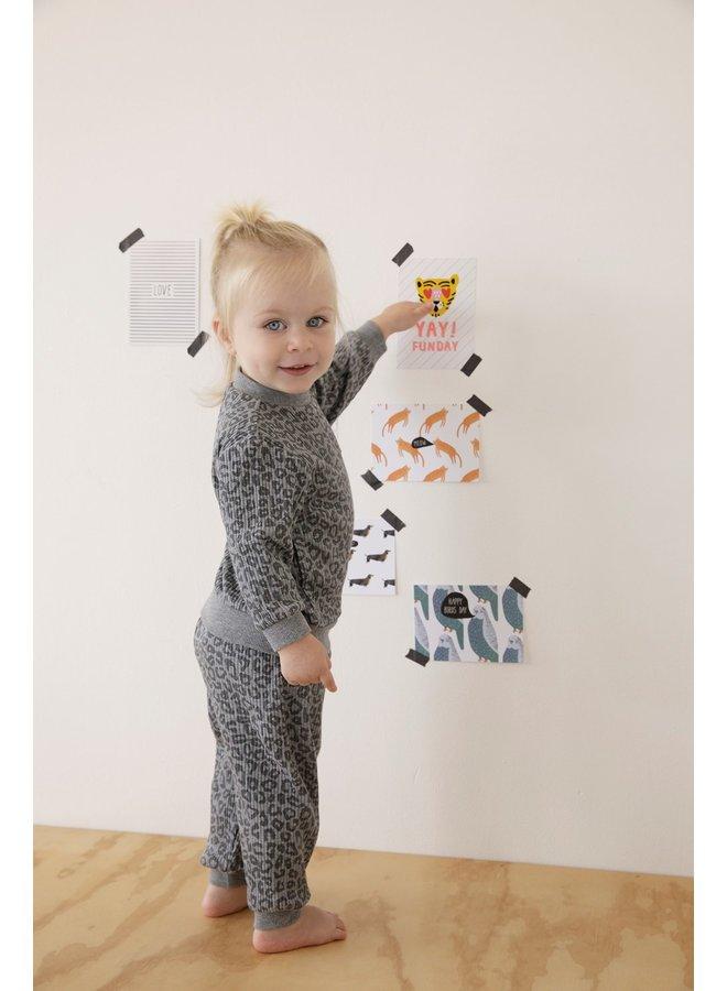 Baby Pyjama Wafel - Panter Antraciet Fashion Edition