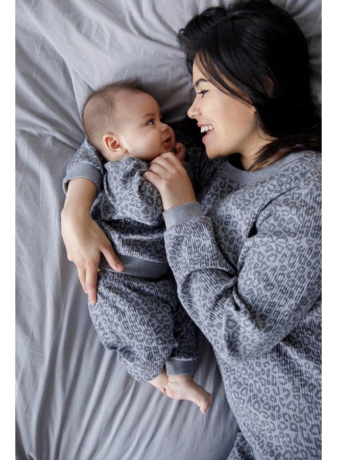Volwassen Pyjama Wafel - Panter Antraciet Fashion Edition