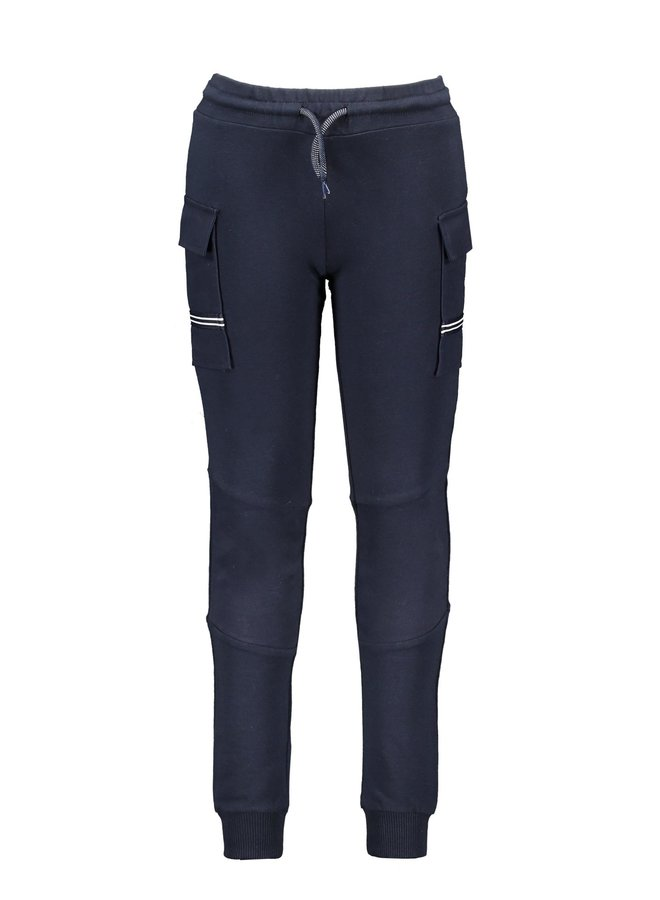 B.Nosy - Sweat Pants With Pockets On Side/Matching Different Fabric - Oxford Blue