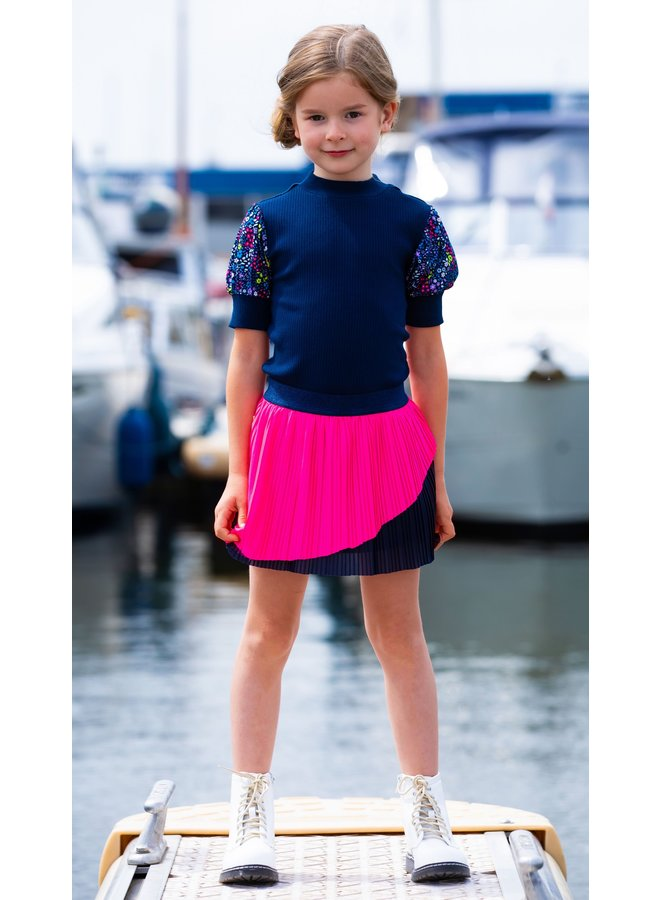 B.Nosy - Shirt With Rib Body And Polyester Fabric Puff Sleeves - Space Blue