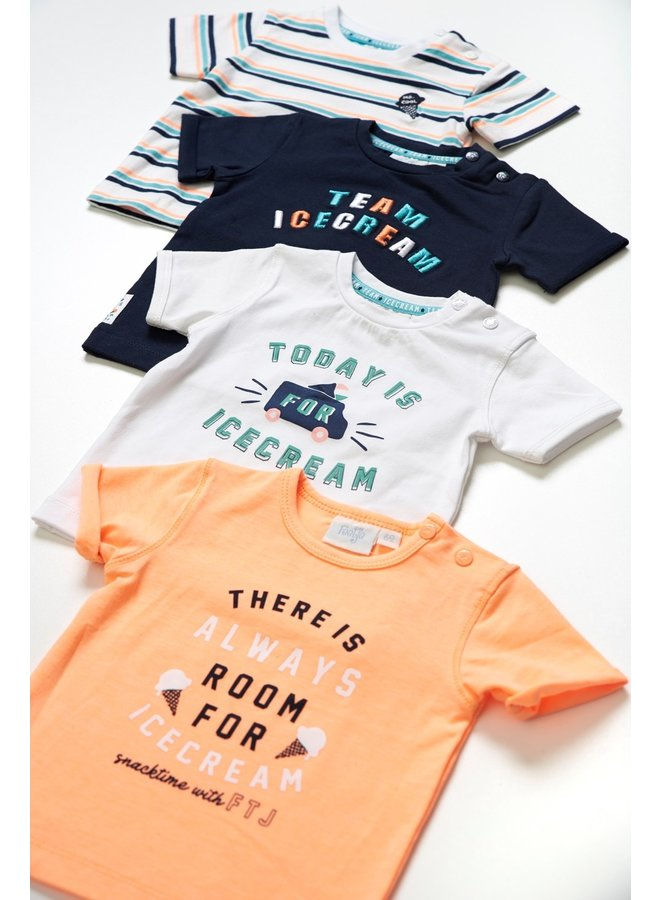 Feetje - T-shirt Streep Wit - Team Icecream
