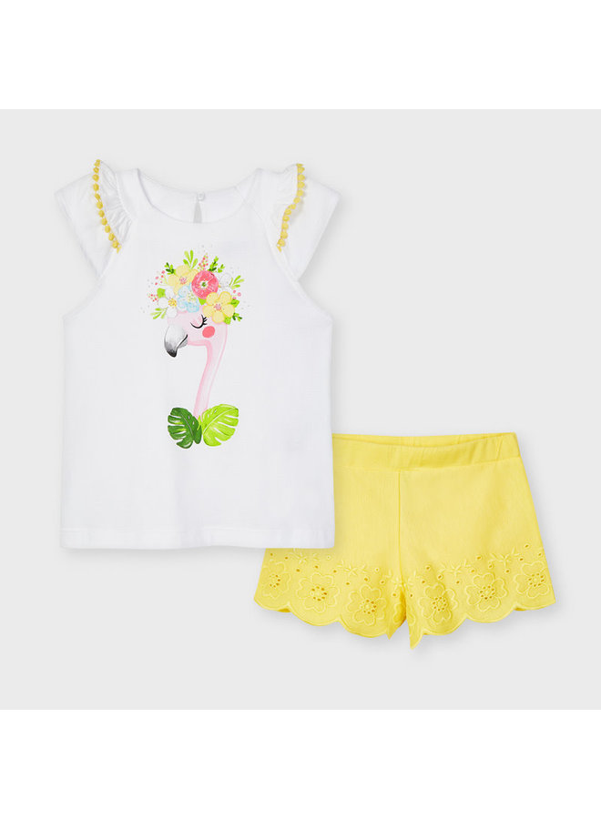 Mayoral - Embroidered Short Set - Yellow