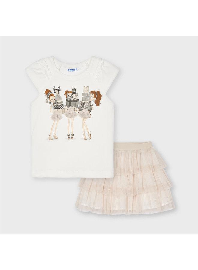Mayoral - Tul Skirt Set 3 Dolls - Champagne