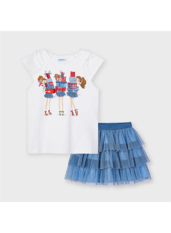 Mayoral - Tul Skirt Set 3 Dolls - Mist