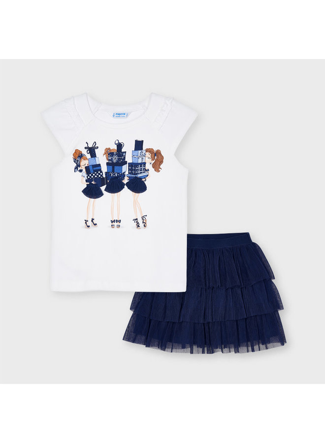 Mayoral - Tul Skirt Set 3 Dolls - Ink