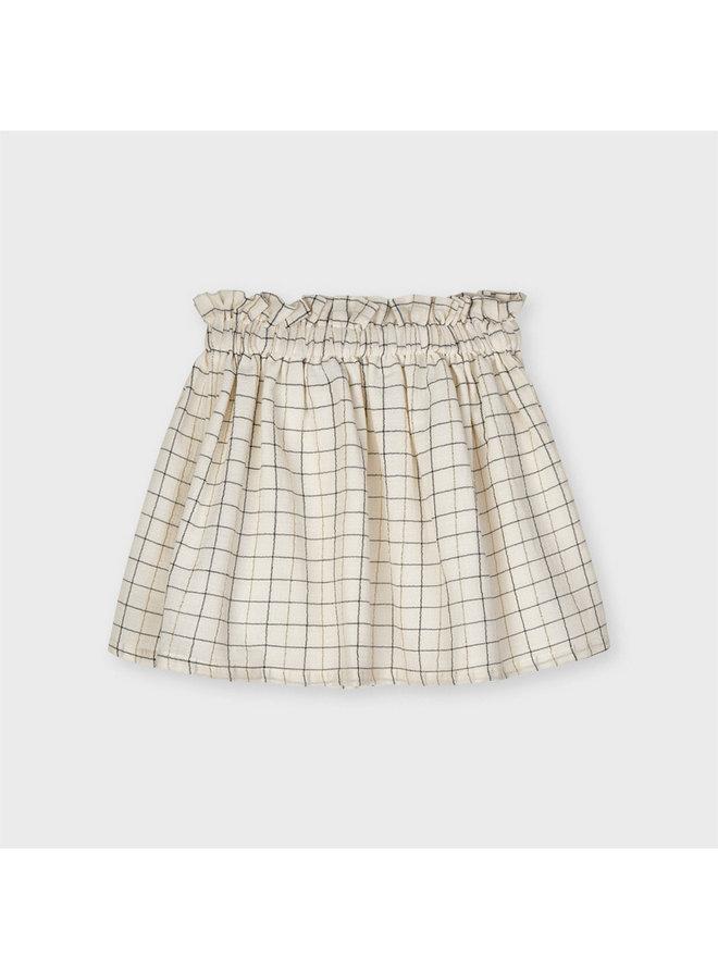 Mayoral - Plaid Lurex Skirt - Sand