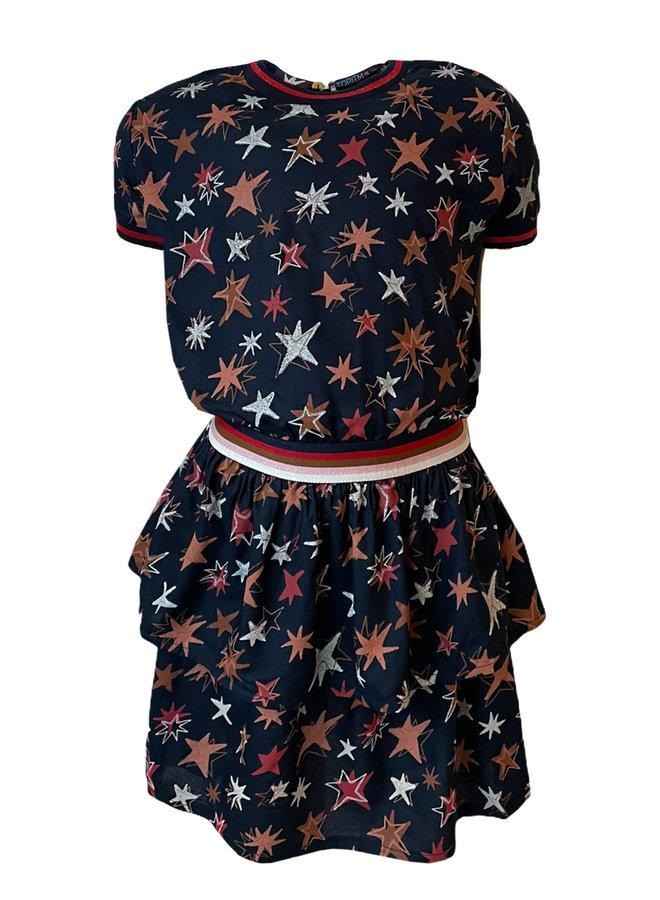 Topitm - Allison Dress -  Dark Blue/AOP Star