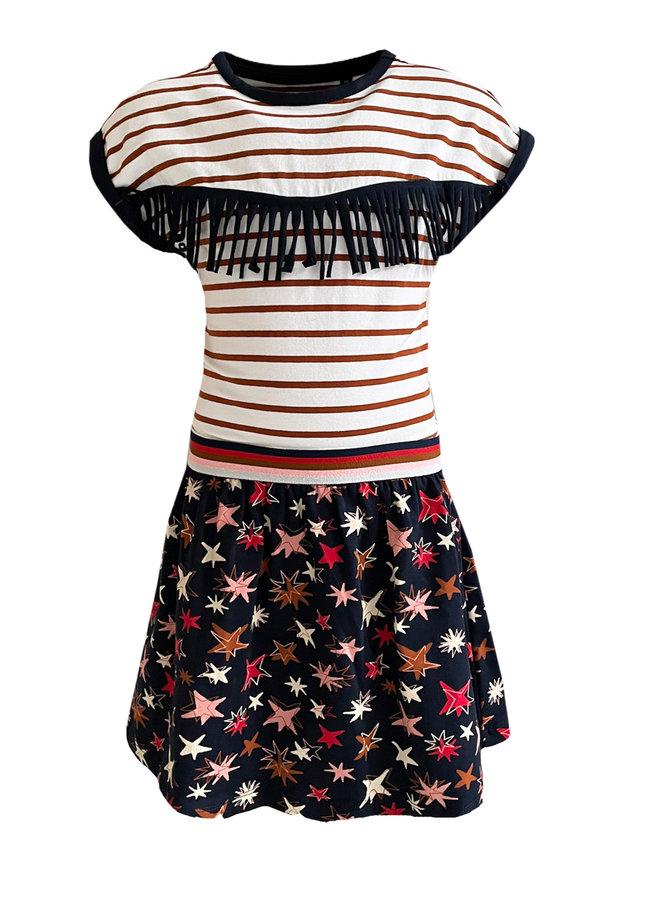 Topitm - Moniek dress - Stripe/Dark Blue/AOP Star