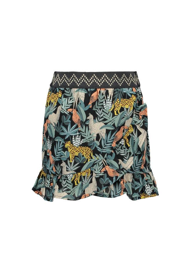 Like Flo - AO Leaf Woven Ruffle Skirt - Leaf