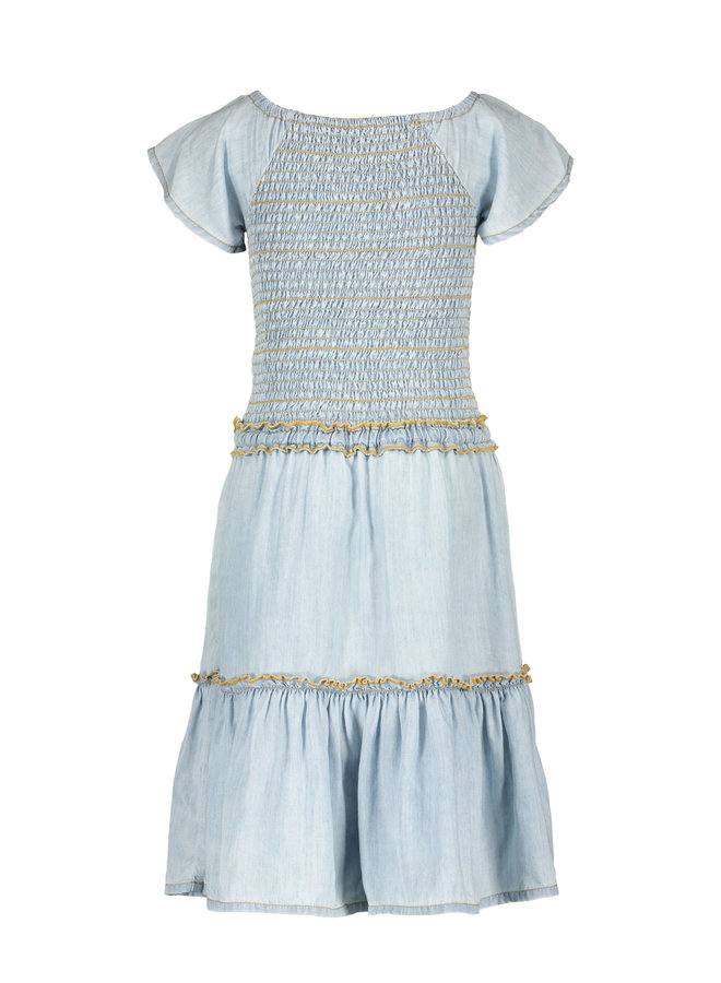Like Flo - Light Denim Maxi Smock Dress - lt denim
