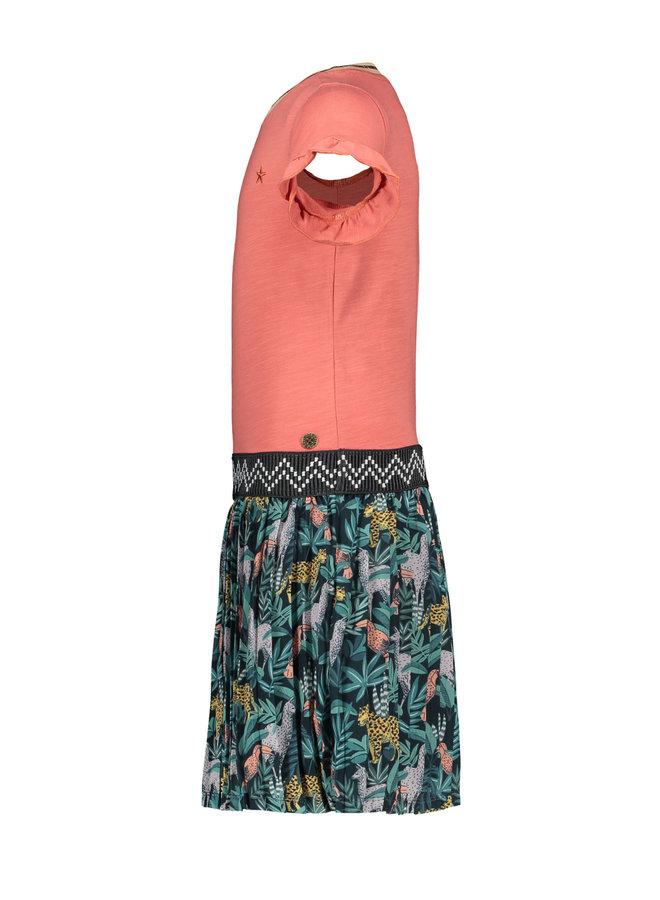 Like Flo - Jersey Ruffle Dress With AO Plisse Skirt - Blush
