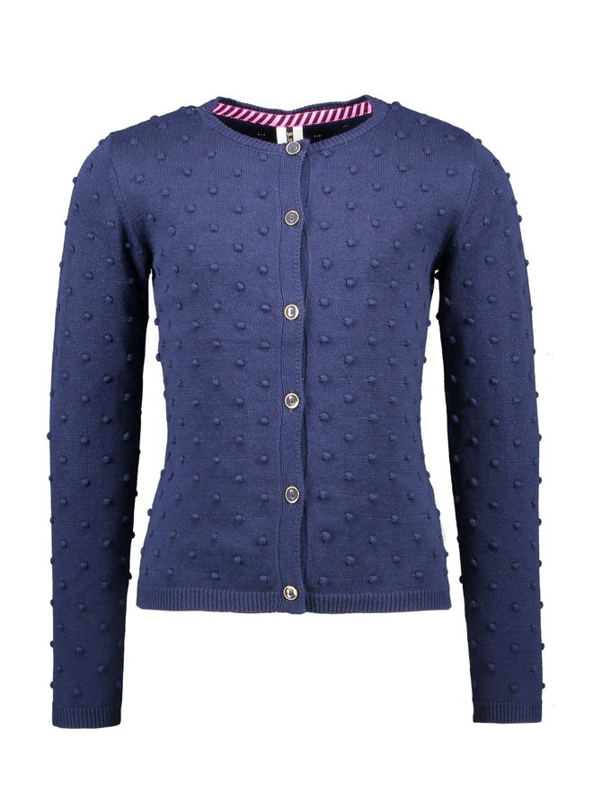 B.Nosy - Fine Jaquard Knitted Cardigan With Button Closure - Space Blue