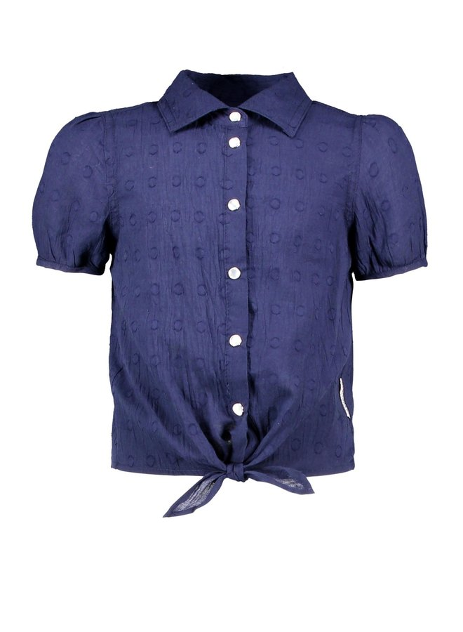 B.Nosy - Dotted Chambray Blouse With Knot - Space Blue