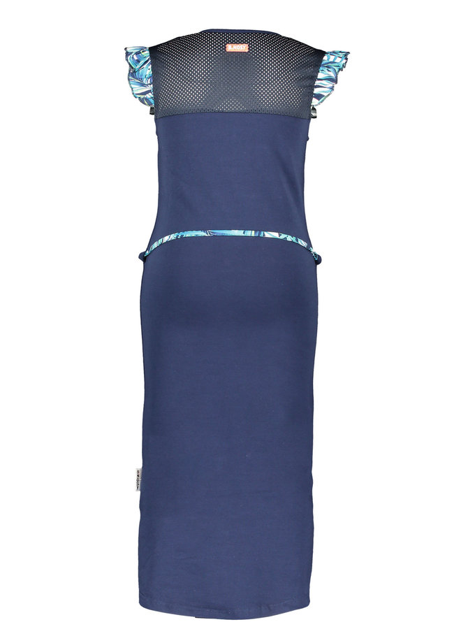 B.Nosy - Sweat Dress With Sporty Mesh And Belt - Space Blue