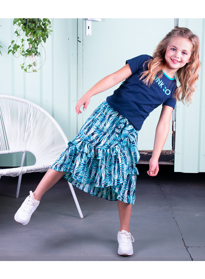 B.Nosy - Woven Maxi Skirt With Ruffle Detail - Tropical Palm AO