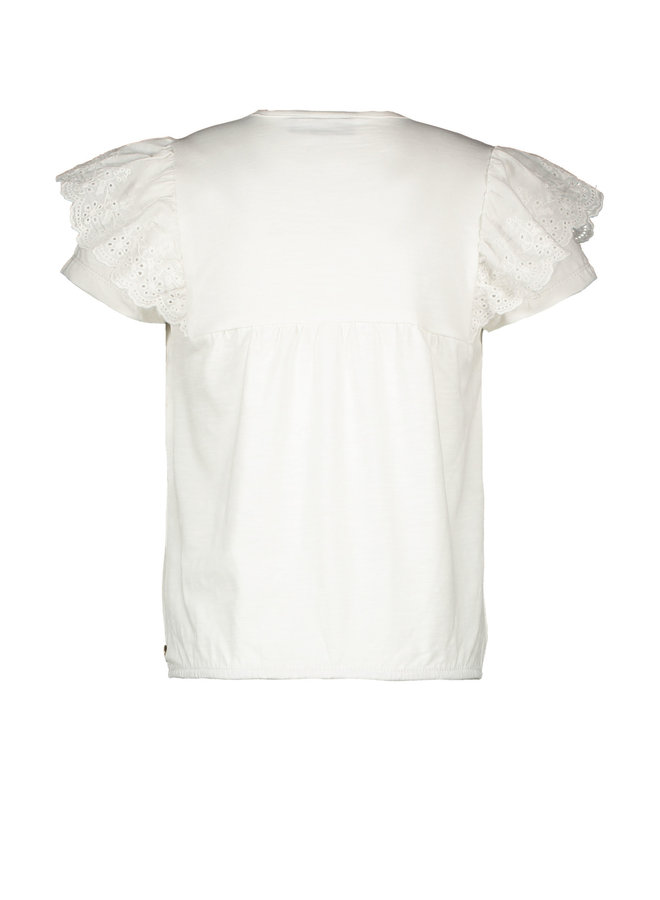 Like Flo - Jersey Broidery Anglais Ruffle Top - Off white